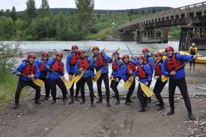 German Familiarization Tour 2016 – Crew dressed and ready for a day of rafting with Big Canyon Rafting on the Chilcotin River. Photo credit – Martin Walter
