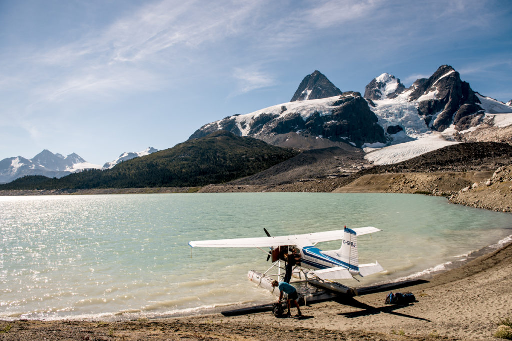 Loading a float plane on Ape Lake, BC.